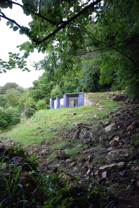 Weathered copper studio by Stonewood Design is also a hide for wildlife watching