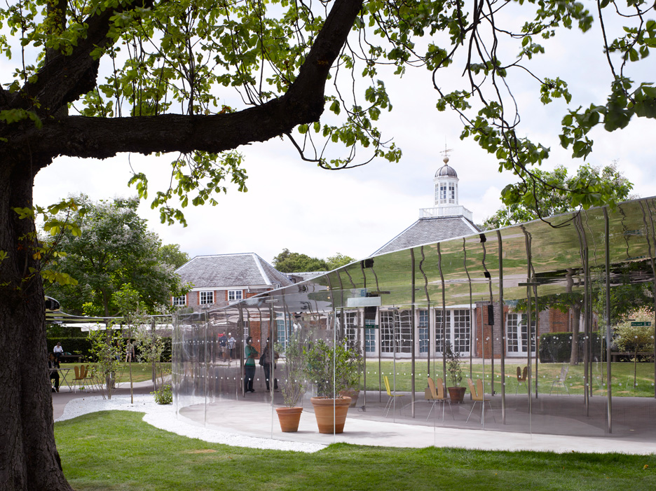 """SANAA's reflective Serpentine Gallery Pavilion 2009 """"merged into the landscape"""""""