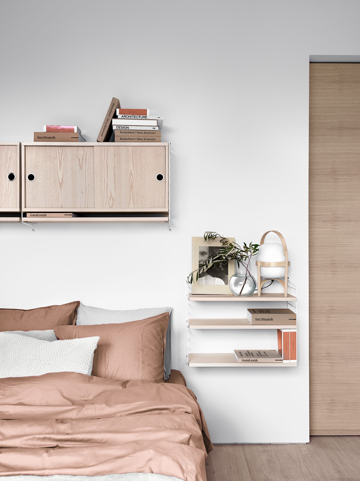 A bedroom in pink shows off what's new from String