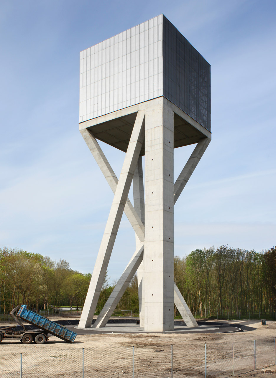 V+'s Chateau d'Eau water tower rests on crossed concrete struts