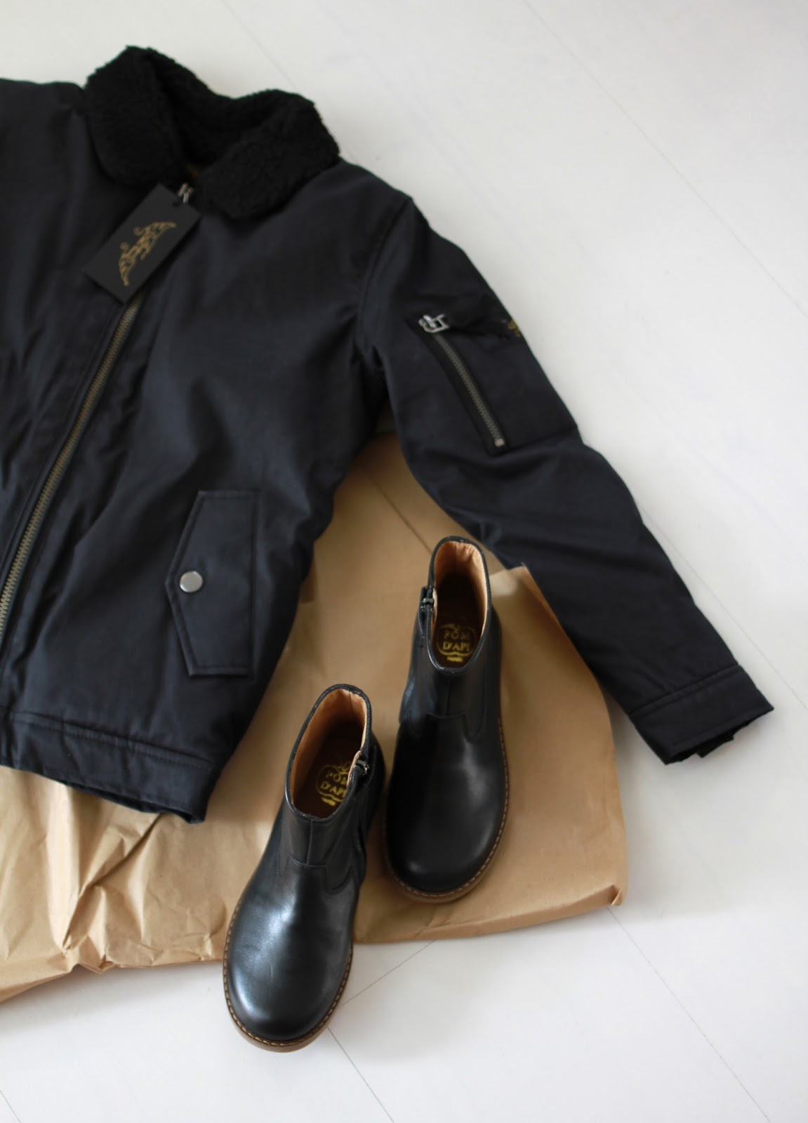 Ready for Fall with these leather boots and jacket for kids