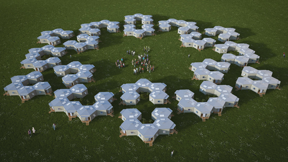 Architects for Society designs low-cost hexagonal shelters for refugees