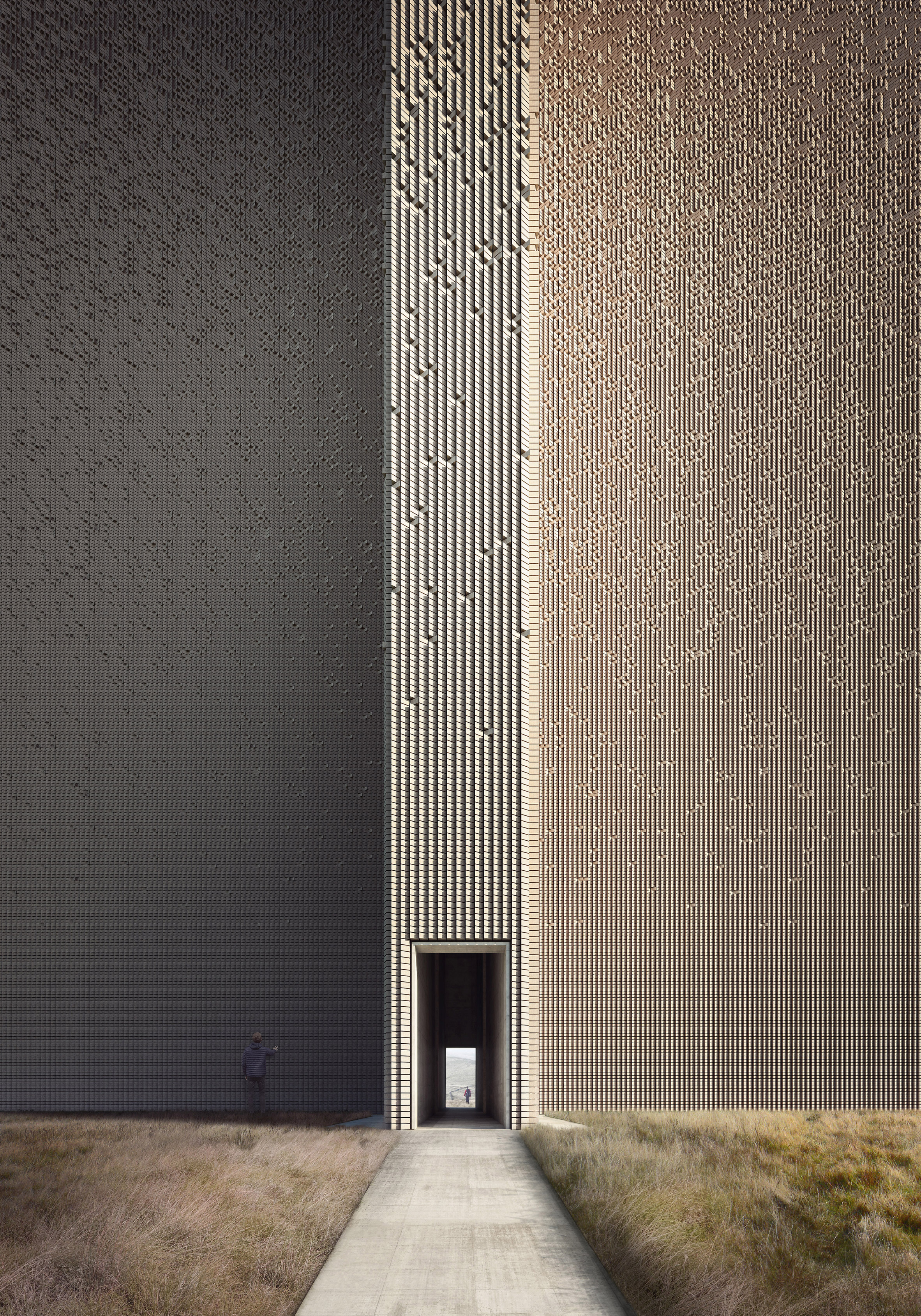 Giles Miller and Forbes Massie imagine towering monument with walls of offset bricks
