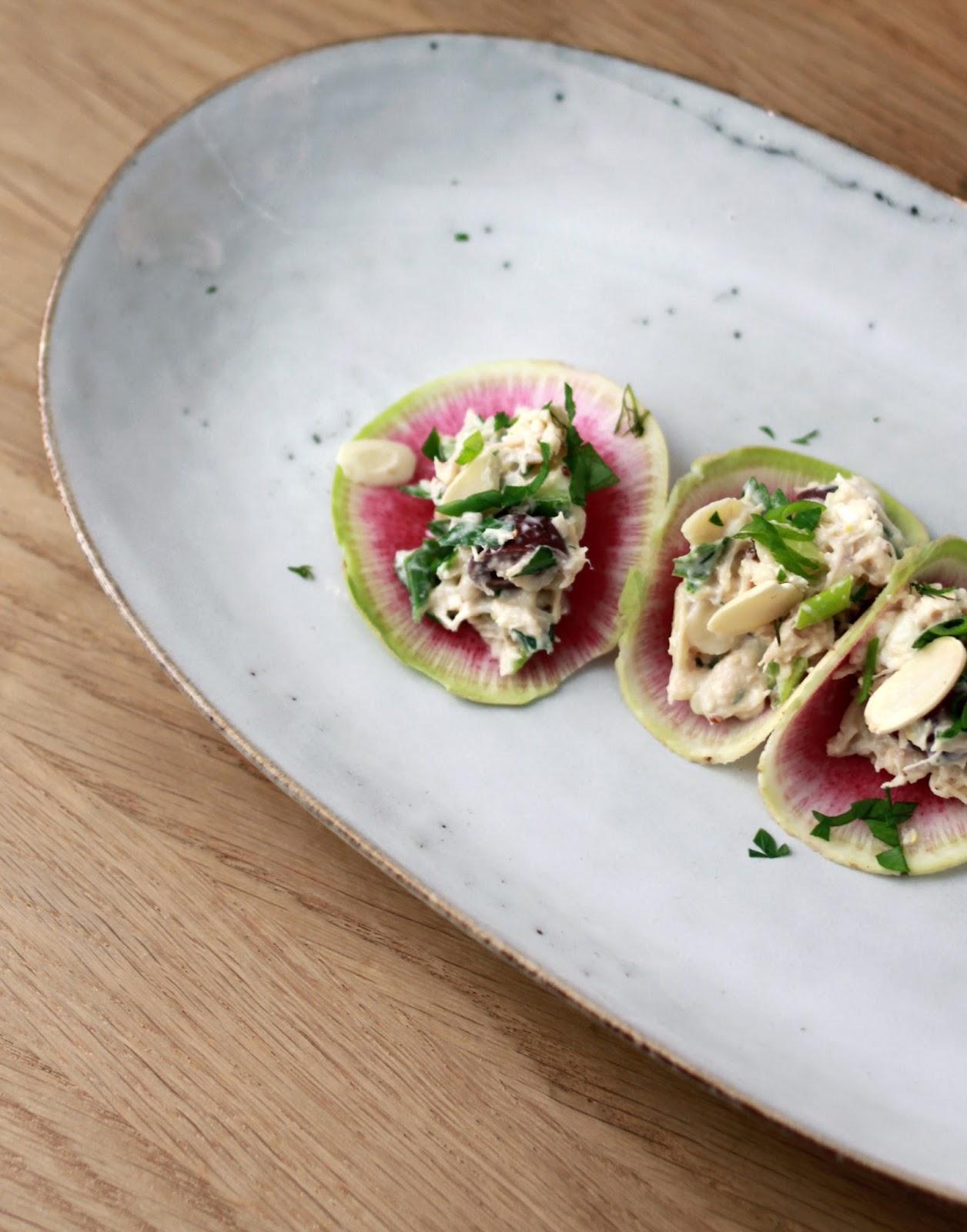 Mini radish tacos with chicken dill salad