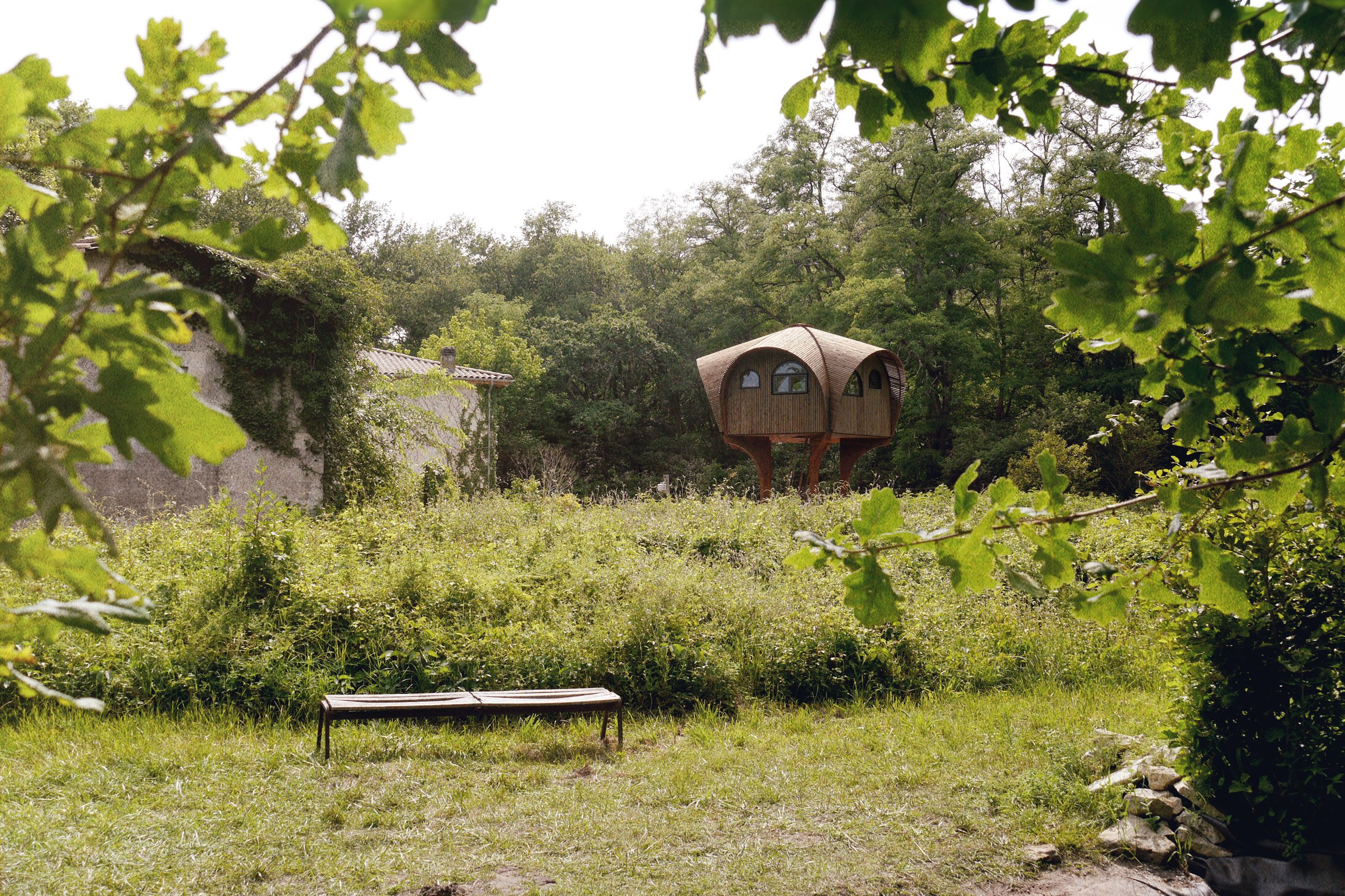 Studio Weave installs stilted hikers' shelter beside a Bordeaux river