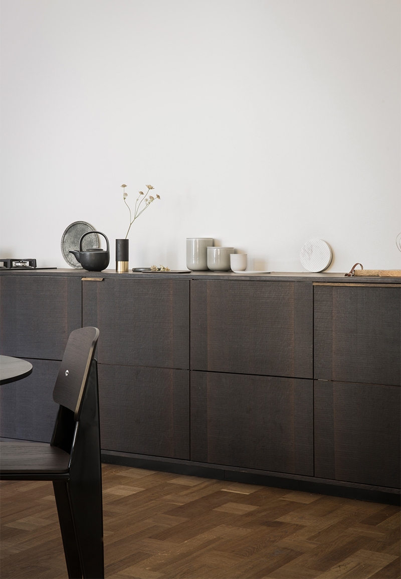 IKEA cabinets get a dark, sleek update by Reform