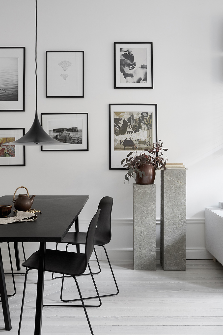 a cosy family home, and these grey pedestals