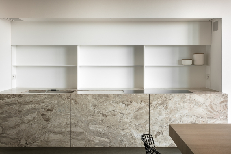 Fawn brown marble and hidden shelves