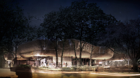 "Gallery extension proposal by 5468796 ""recreates the quality of light of a rainforest"""
