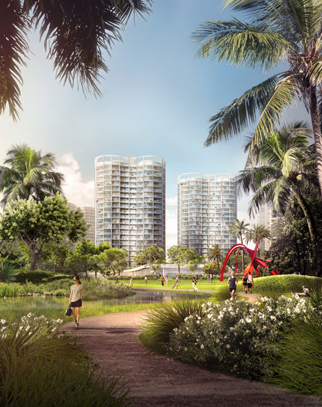 """OMA reveals trio of """"peanut-shaped"""" towers for Miami's Coconut Grove"""