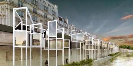 MenoMenoPiu Architects proposes capsule hotel along the Seine