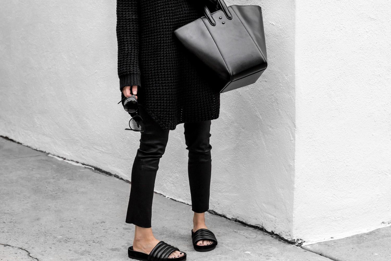 Leathers, sweaters & slides