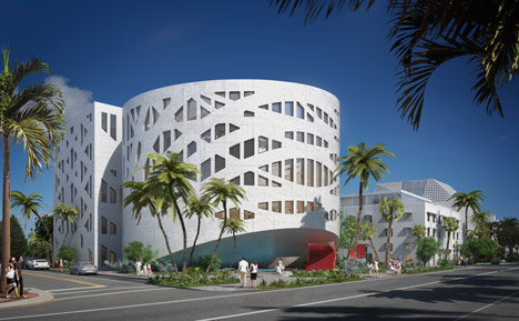 Rem Koolhaas' Faena Forum in Miami shown in new renderings and model