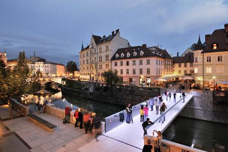 Arhitektura d.o.o. designs minimalist Ribja Brv Footbridge in the centre of Ljubljana