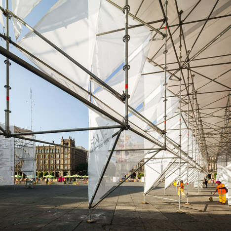 MMX uses scaffolding and canvas to build a cluster of origami-like pavilions in Mexico City