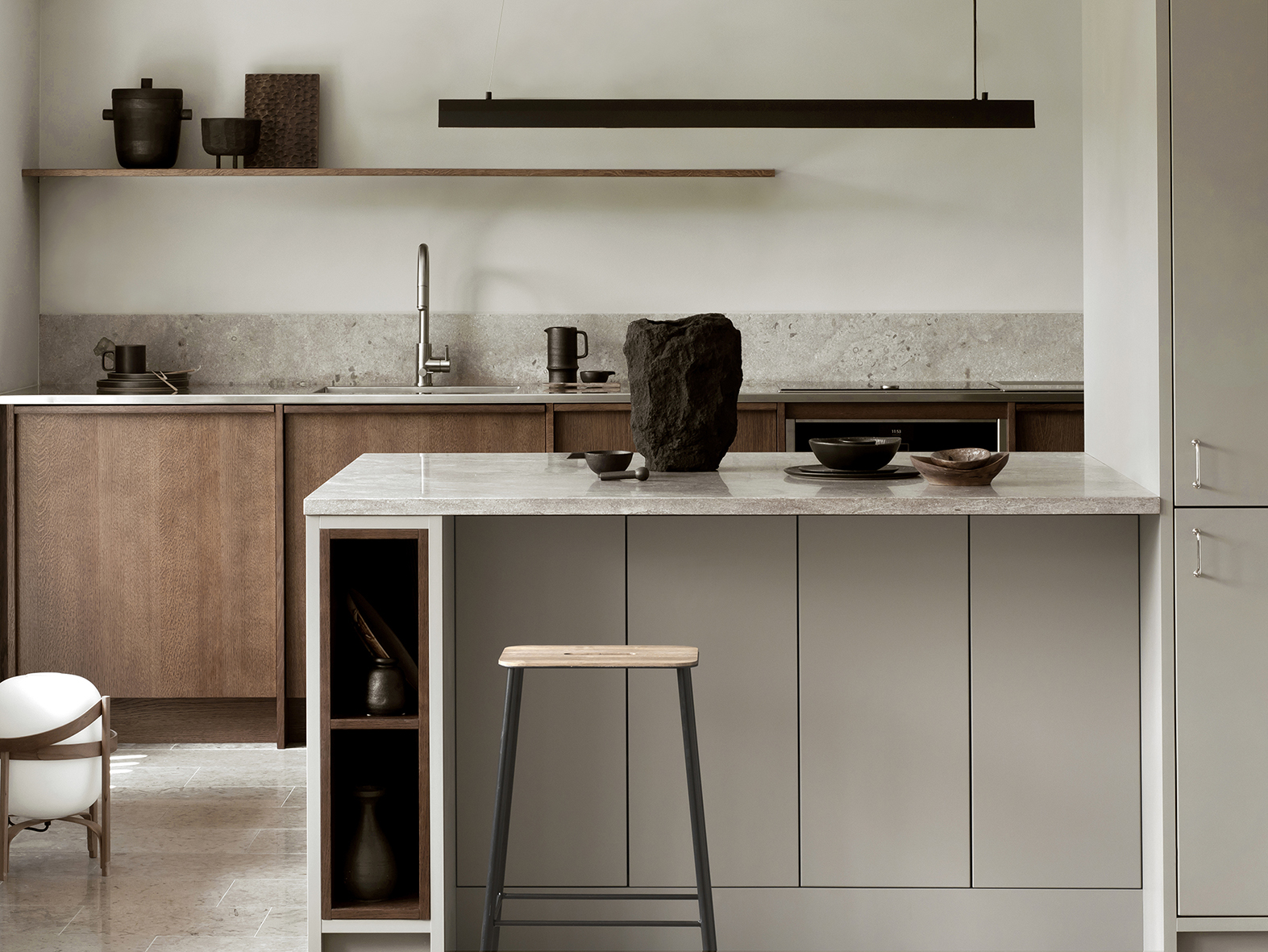 A Kitchen Designed with Contrasting Materials