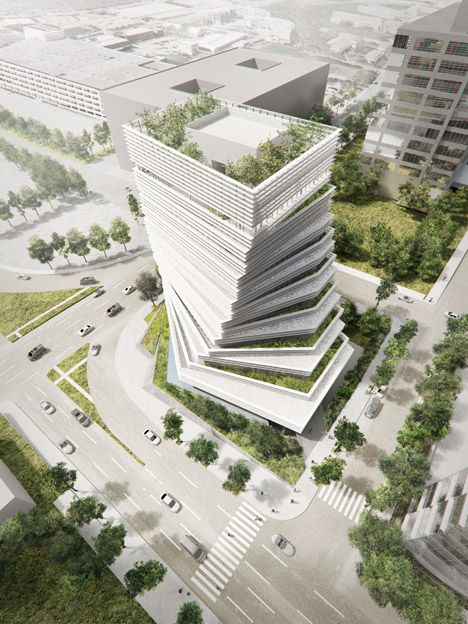 "Kengo Kuma to ""fuse nature and architecture"" with twisted Rolex tower underway in Dallas"