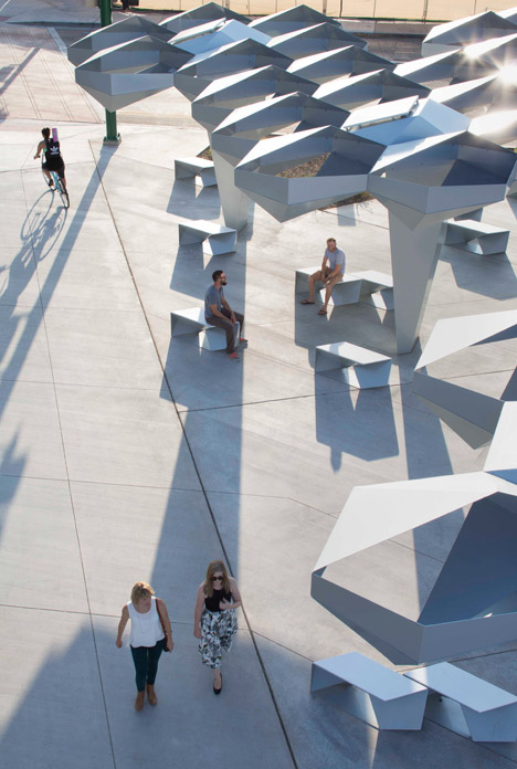 Höweler + Yoon creates canopy of folded metal plates for urban park in Phoenix