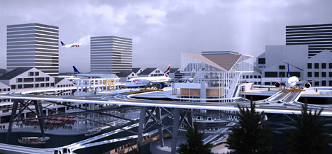 Stockholm airport proposal elevates runways among city rooftops