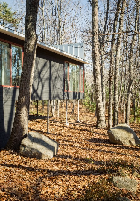 Carol A Wilson reuses ranch house foundations to build Maine retreat