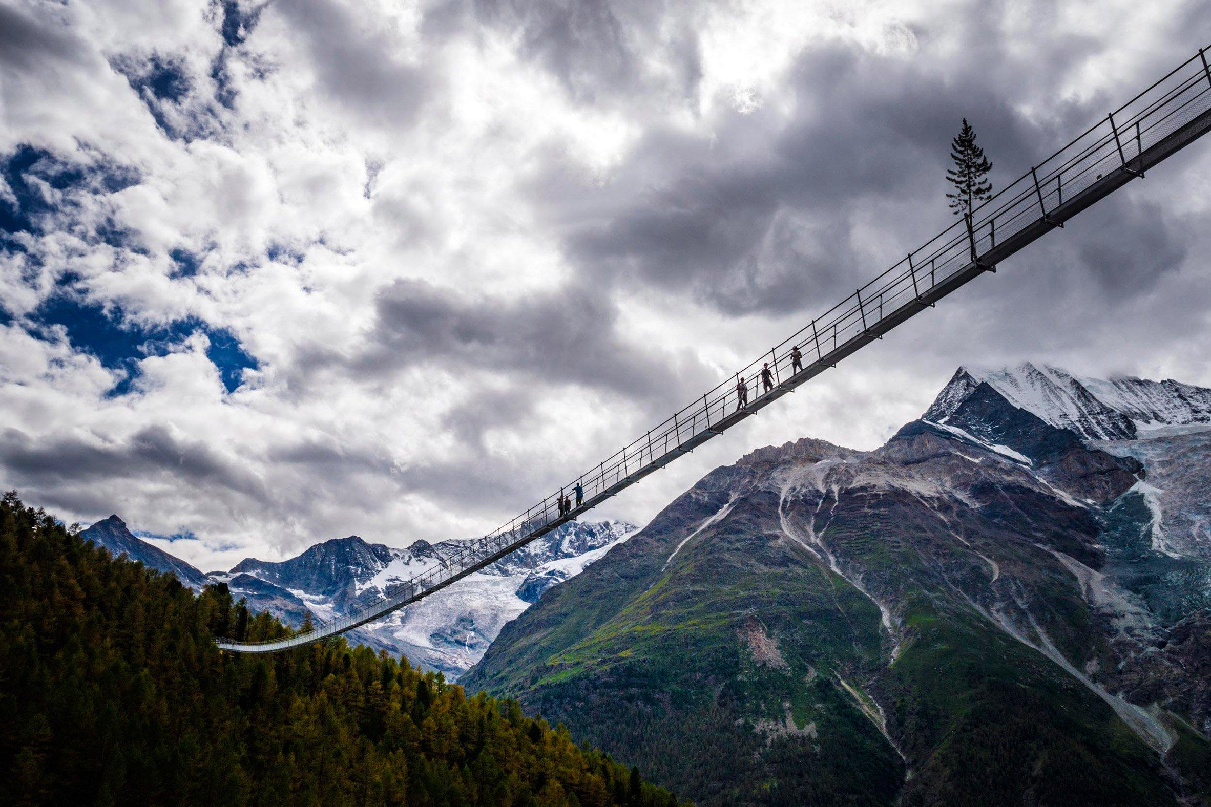 World's longest pedestrian suspension bridge traverses a Swiss valley
