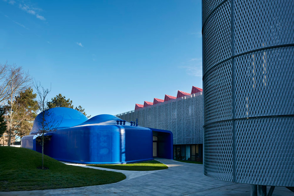 Bournemouth's bright blue drawing studio is Peter Cook's first building in the UK