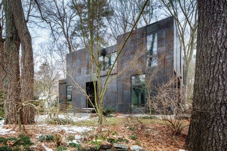 Merge Architects clads compact Massachusetts home in weathering steel