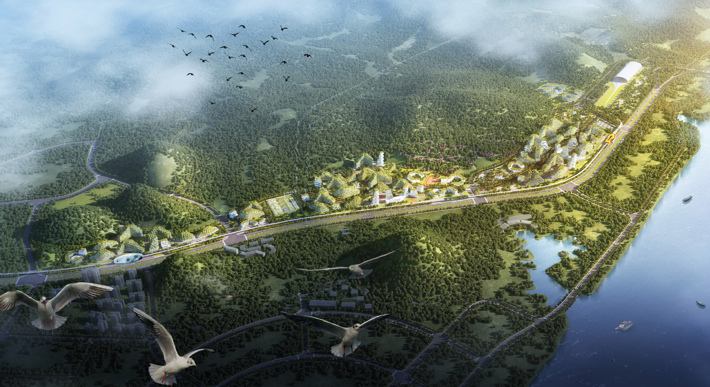 """Stefano Boeri designs """"vertical forest"""" city to eat up China's smog"""