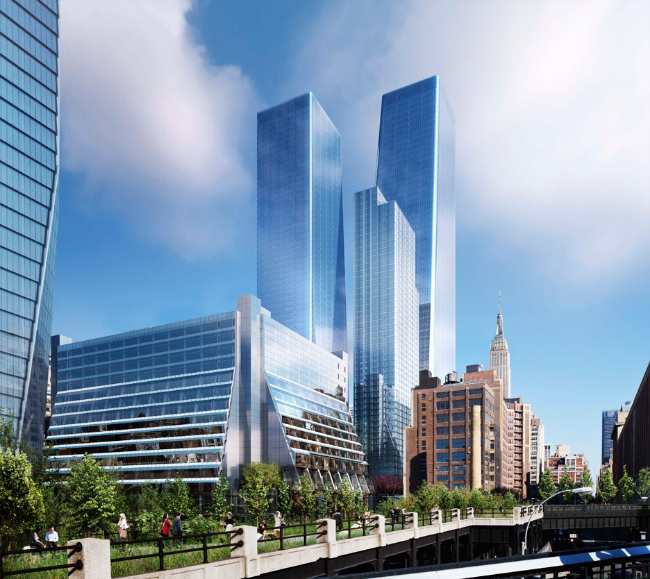 SOM reveals new images of Manhattan West skyscrapers for New York City