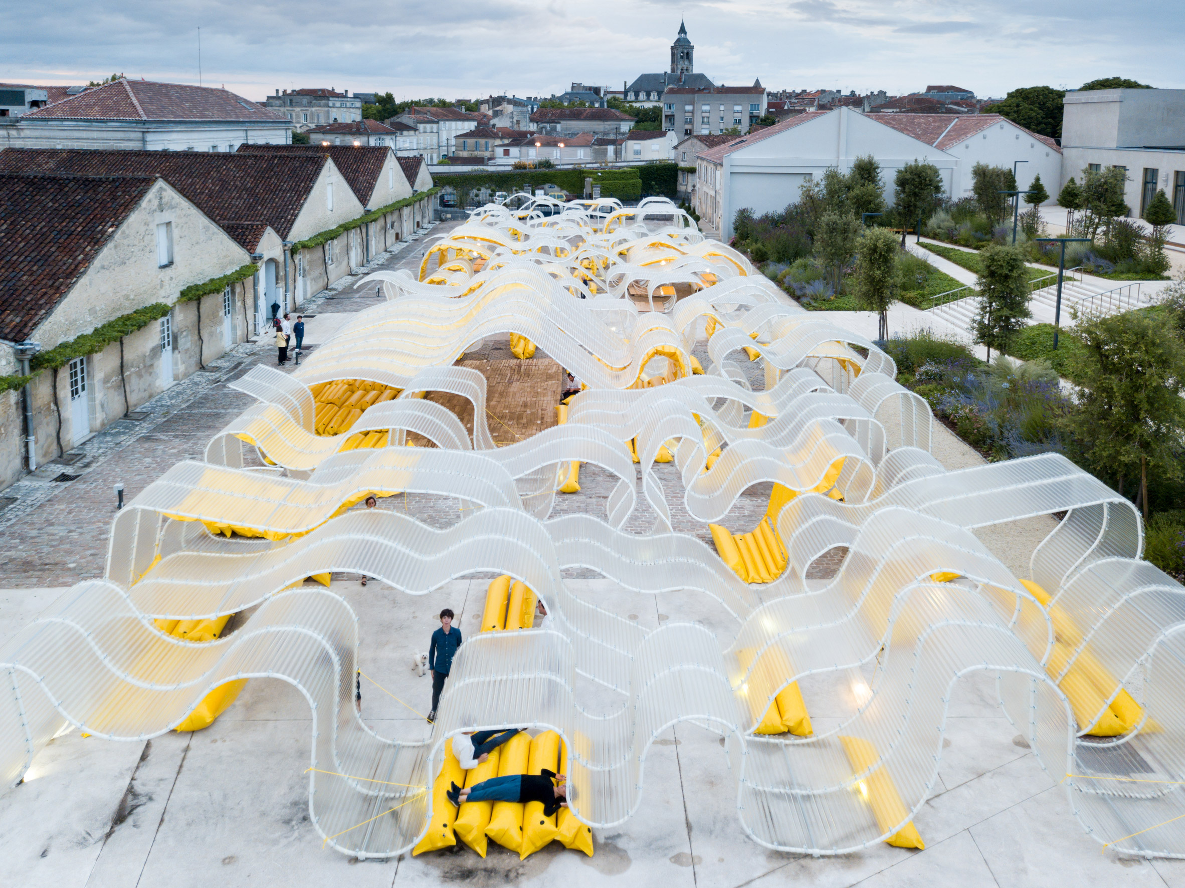SelgasCano creates undulating pavilion from sheets of corrugated plastic in Cognac courtyard