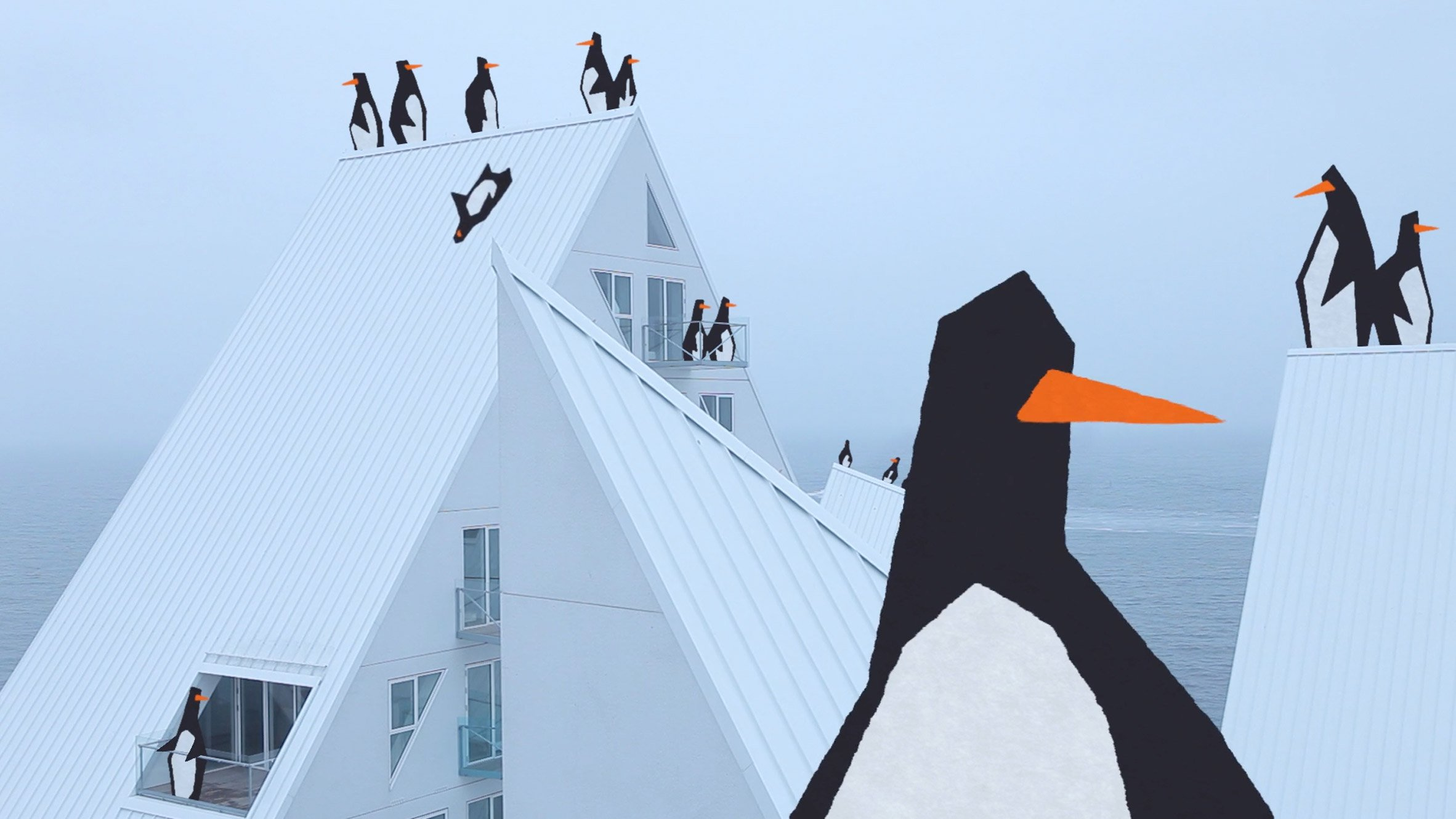 """""""The Iceberg"""" housing in Aarhus becomes a playground for penguins in new animation"""