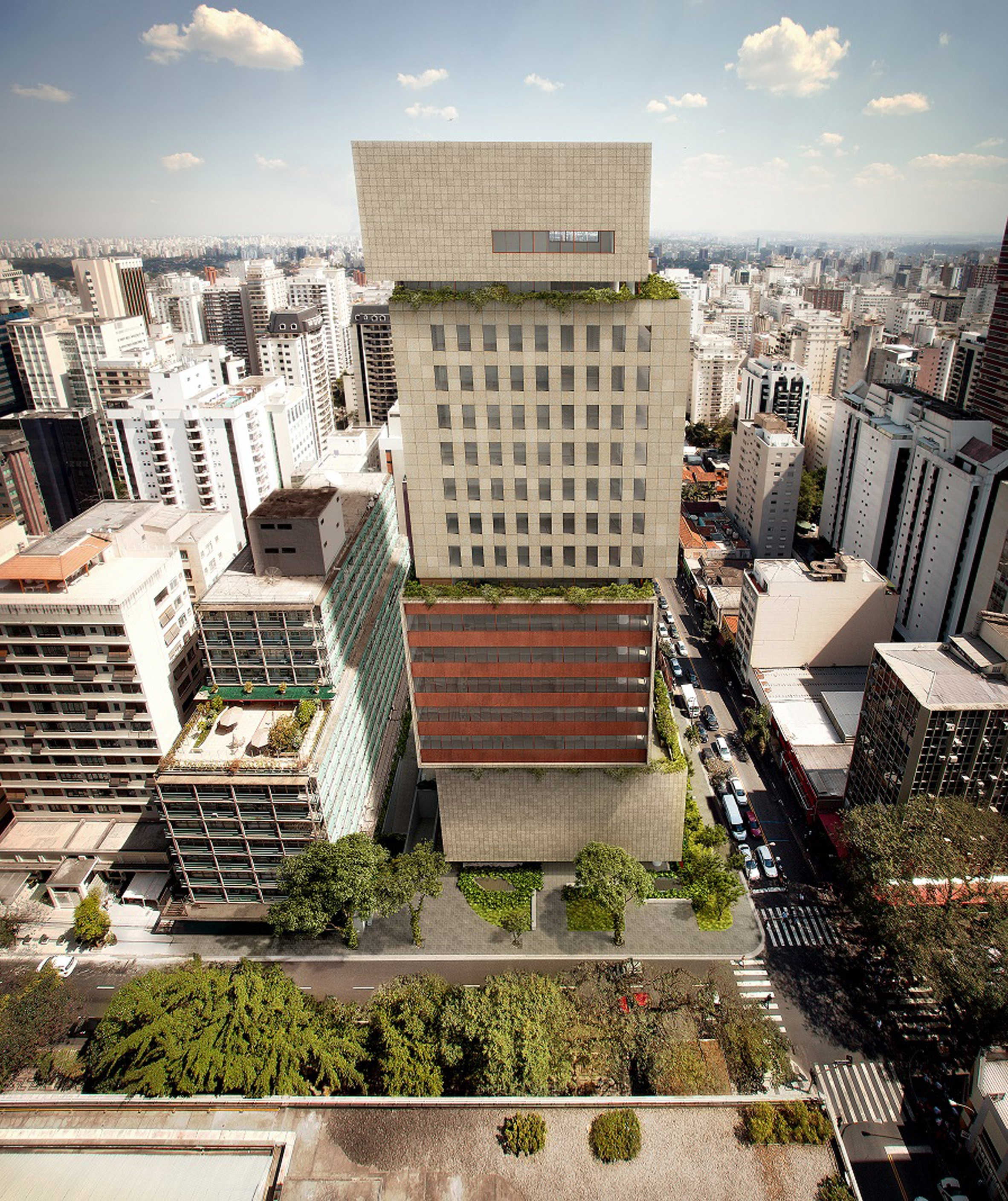 Isay Weinfeld reveals irregularly stacked tower block for São Paulo