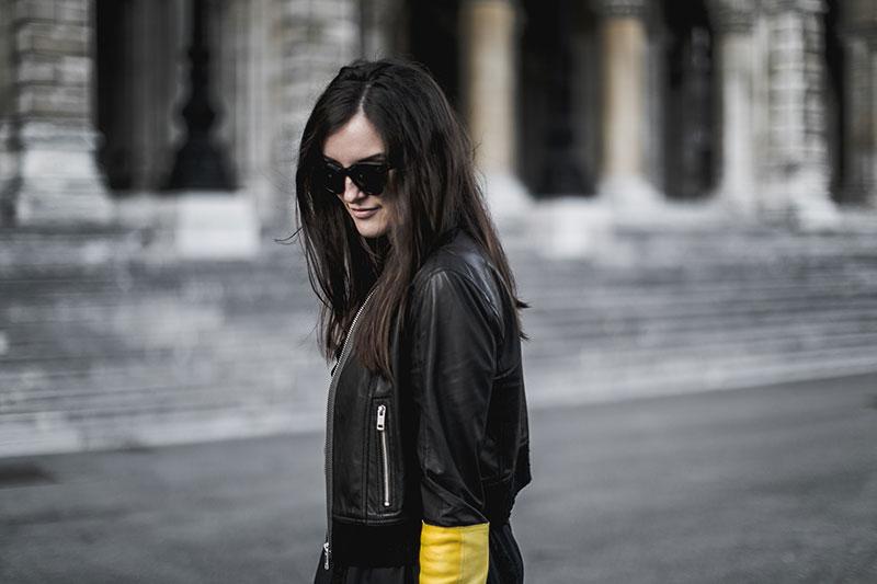 Black leather jacket – yellow sleeve