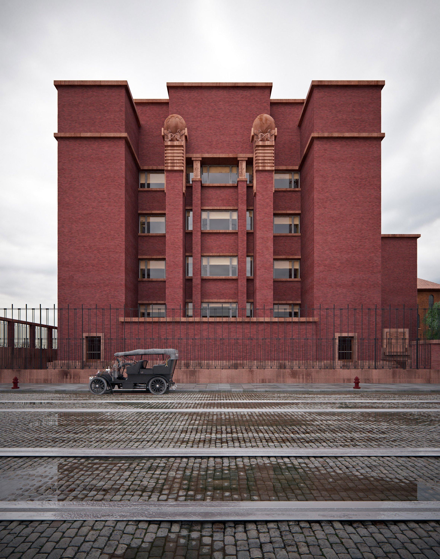 David Romero recreates Frank Lloyd Wright buildings in colour visualisations
