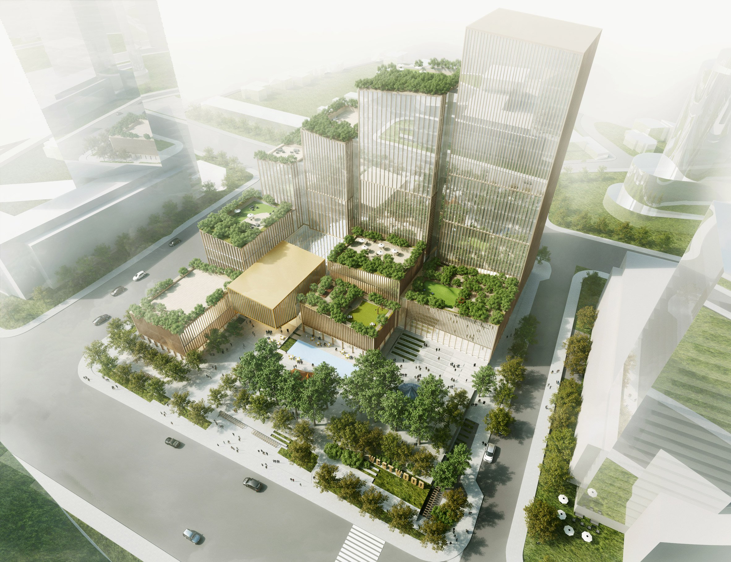 Henning Larsen's Etobicoke Civic Centre shelters public square from cold winds