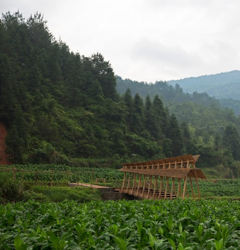 Huge timber steps form bridge built by students across a river in rural China